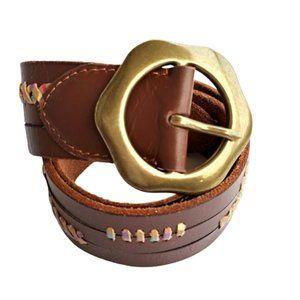 LUCKY BRAND Leather Belt Multicolor Whipstitch Sm